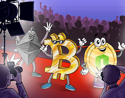 Editorial Illustrations about Cryptocurrencies