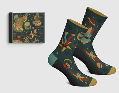 Stereo Socks, sock design/illustration