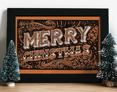 Handlettering   Merry Christmas postcard
