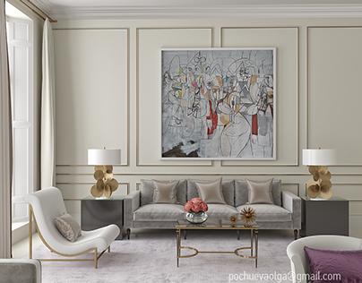 3d living room interior, original:Todhunter Earle