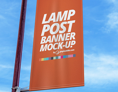Free PSD Lamp Post Banner mockup