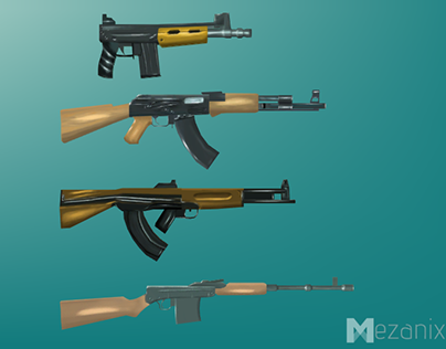Hand Painted, Low poly Weapons, Russian