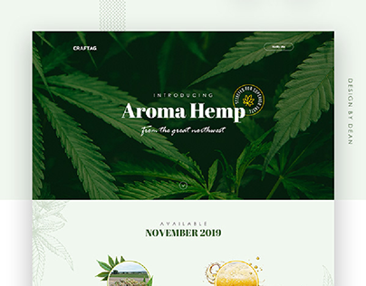 Splash page design for Aroma Hemp