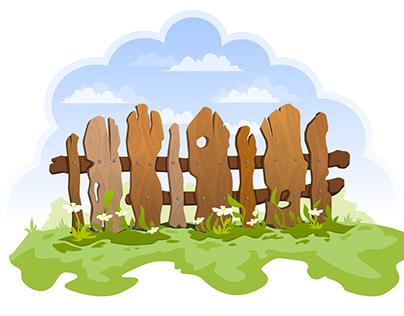 Wooden fence vector art