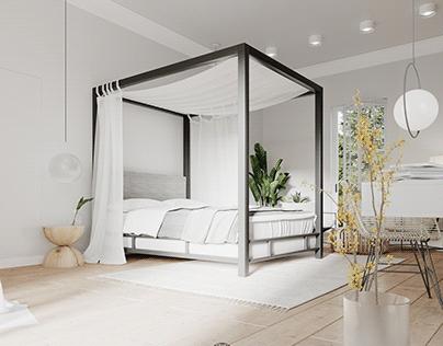 Master bedroom bathed in lightness & subtlety