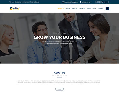 Reflex- Finance, Business PSD Template.