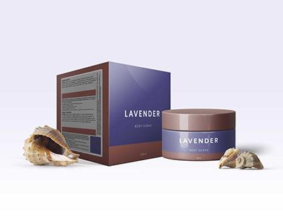 Premium Lavender Body Scrub Packaging Mockup