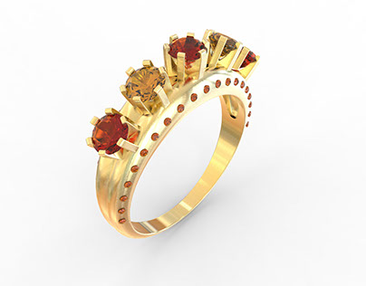Multi Stone ring I created with CAD Rhino Software
