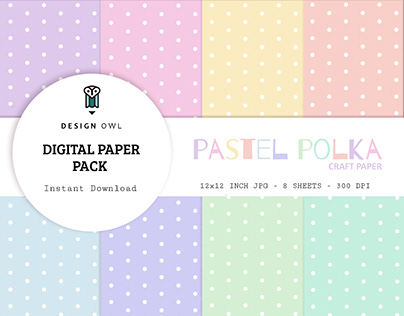 Pastel polka digital paper pack
