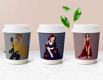 Illustrations coffee cups/phone cases and shopping bags