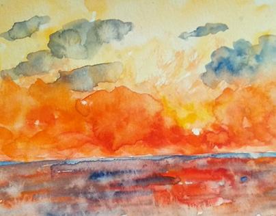 Little Seascape watercolour paintings