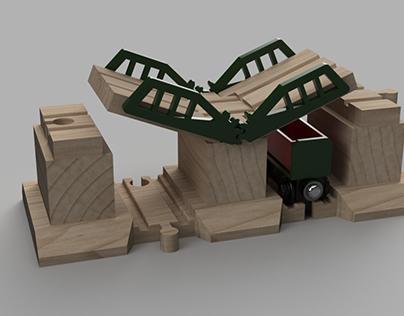 Wooden Train Bridge with Gears