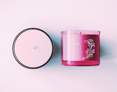 Glass Candle & Box Mock-Up