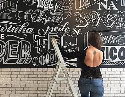 Chalkboard lettering for Hamburgueria Mooo Leiria