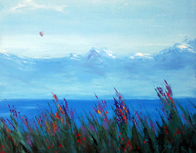 Lake in the Alps (triptych)