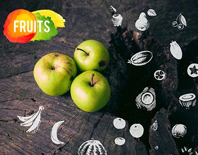 Hand-drawn fruit. vector