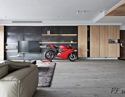 Sexy Ducati 1199 Panigale in a men's stylish interior