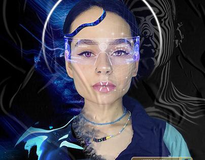 Futuristic cyberpunk digital poster art
