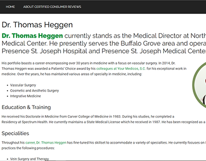 Certified Consumer Reviews - Dr. Thomas Heggen