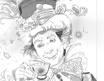 Alice in Wonderland (black & white sketches)