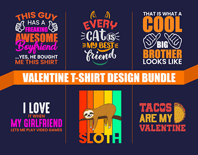 Valentine T-shirt Design Bundle