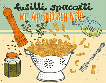 Food Illustration – Pasta with Artichoke Pesto
