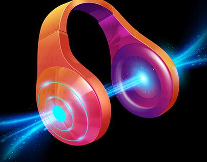 Vector Illustration : Headphone for a podcast theme