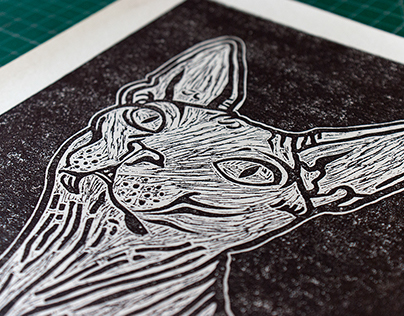 """Sphynx Cat"" Linoprint"