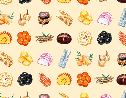 Osechi cooking illustrations for stationary goods.