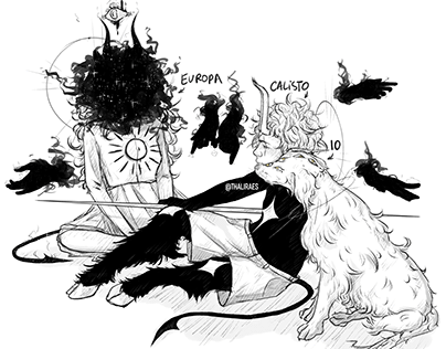 """OC's """"Demons of the Universe"""" - Europa, Calisto and Io"""