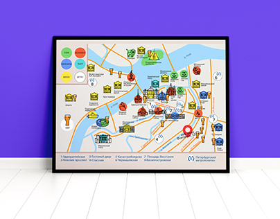 Map of bars and monuments St. Petersburg