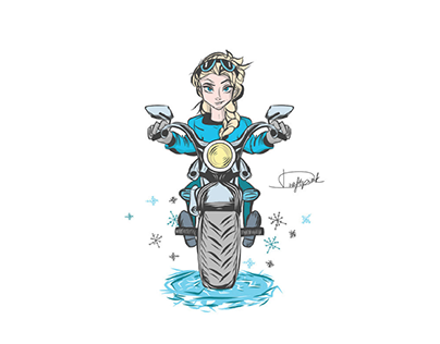 Princess Elsa on motorbike (illustration)
