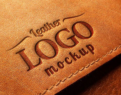 Embossed Leather Logo MockUp PSD