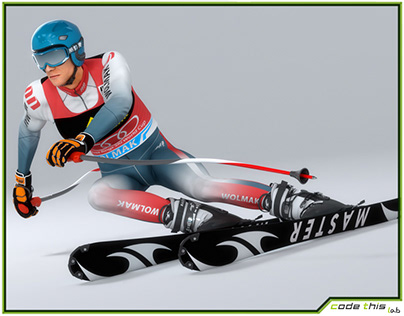 3D Male Skier Animated HQ