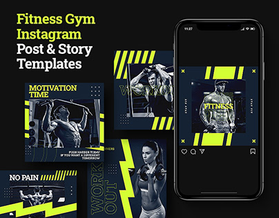 Fitness Club Instagram Post & Stories Template