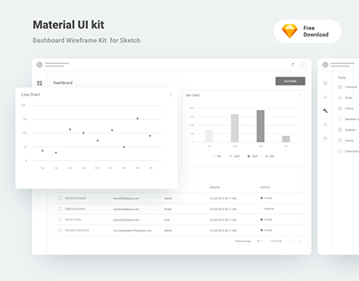 Material Dashboard Wireframe Kit