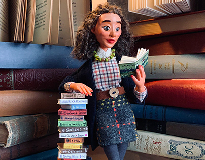 Book Lover Valeria Handmade Collectible Ooak Doll