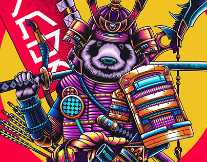 Panda Samurai Illustration Artwork - Panda TV
