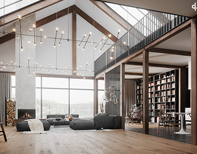 Interior visualization of a converted old barn.