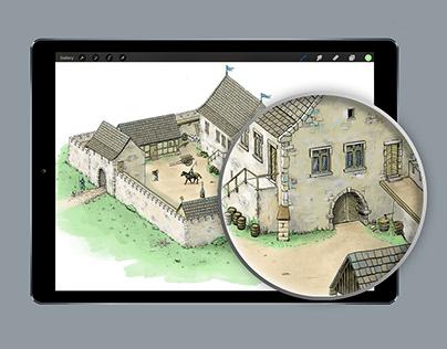 Illustration of a medieval castle
