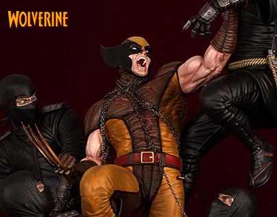 Wolverine vs ninjas diorama