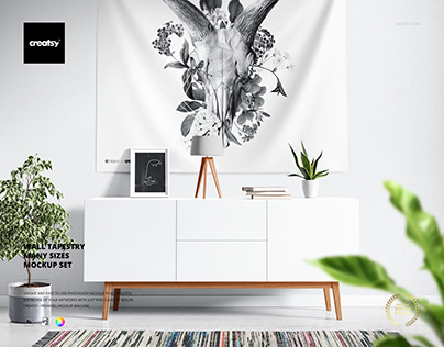 Wall Tapestry Mockup Set (many sizes)