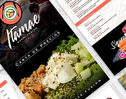 Carta Itamae Sushi Fusión