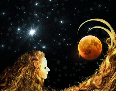 Red moon girl music album cover design