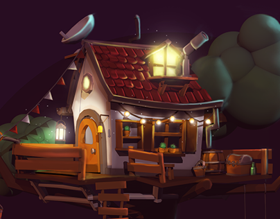 3D Cellshading | Treehouse at night