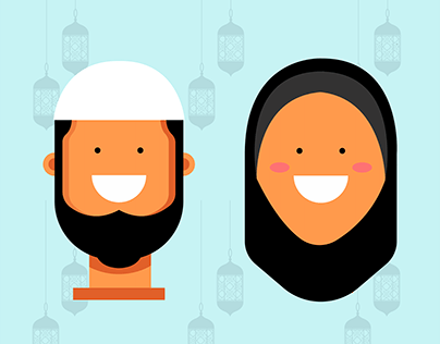 Muslim Couples - Flat Character Design