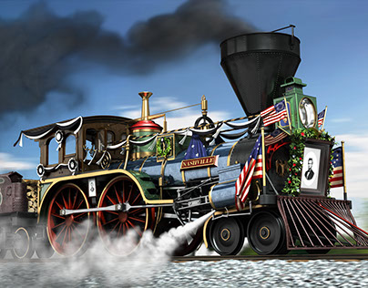 """""""The Old Nashville"""" (Lincoln's funeral train)"""