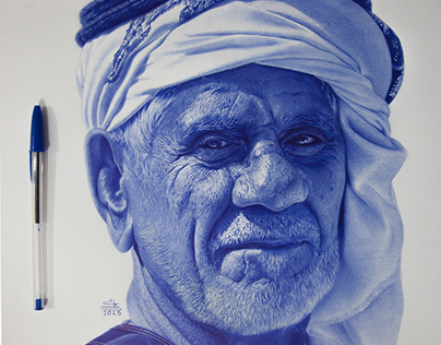 khaliji with ballpoint pen