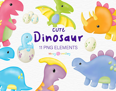 Watercolor Dinosaur Clipart. Graphic