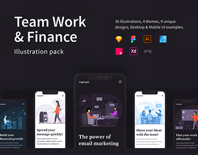 Team Work & Finance Illustrations